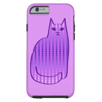Coque Tough iPhone 6 Chat, orchidée et pourpre modernes de la moitié du