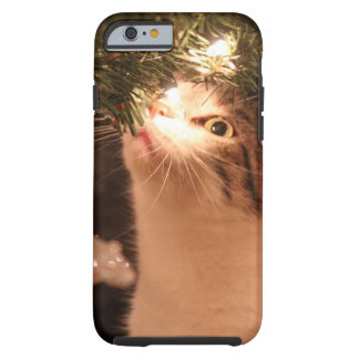 Coque Tough iPhone 6 Chats et lumières - chat de Noël - arbre de Noël