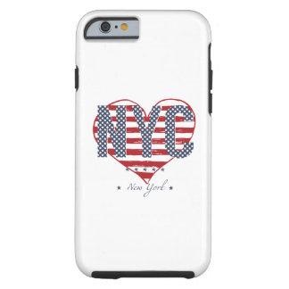 Coque Tough iPhone 6 Coeur de drapeau américain de NYC