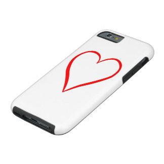 Coque Tough iPhone 6 Coeur peint sur l'arrière-plan blanc