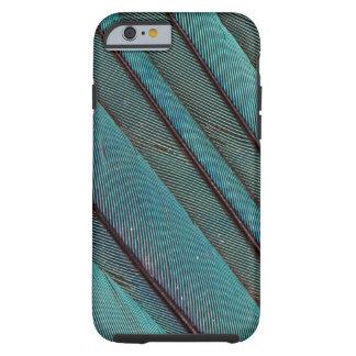 Coque Tough iPhone 6 Conception de plume de martin-pêcheur de turquoise