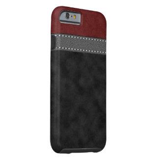 Coque Tough iPhone 6 Copie de courroie piquée par cuir gris noir rouge