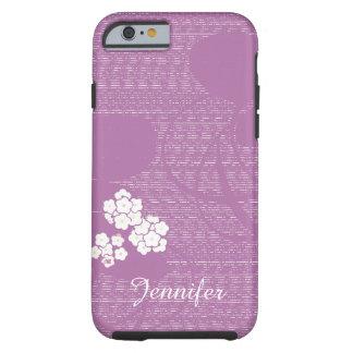 Coque Tough iPhone 6 Coutume féminine de fleurs florales pourpres et