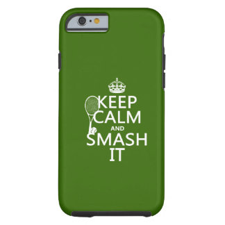 Coque Tough iPhone 6 Gardez le calme et le fracas il (tennis) (toute