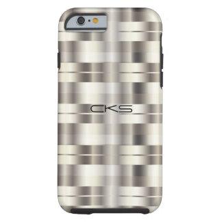 Coque Tough iPhone 6 L'argent pur barre | décoré d'un monogramme