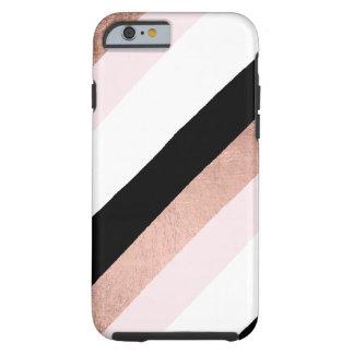 Coque Tough iPhone 6 Le noir à la mode rougissent motif de rayures d'or