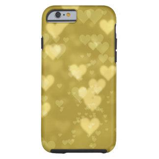 Coque Tough iPhone 6 L'électronique de motif de coeurs de bokeh d'or
