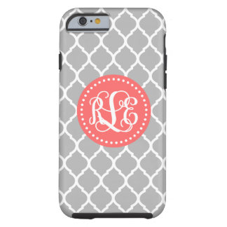 Coque Tough iPhone 6 Monogramme gris et de corail de manuscrit de