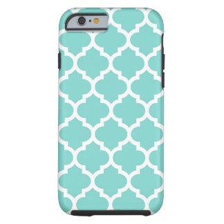 Coque Tough iPhone 6 Motif blanc #5 de Quatrefoil de Marocain d'Aqua de
