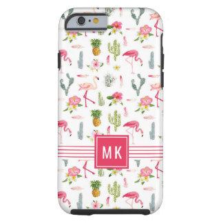 Coque Tough iPhone 6 Motif de ketmie d'ananas de cactus de flamant