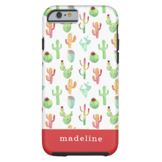 Coque Tough iPhone 6 Motif en pastel d'aquarelle de cactus