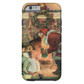 Coque Tough iPhone 6 Noël vintage, enfants victoriens du père noël