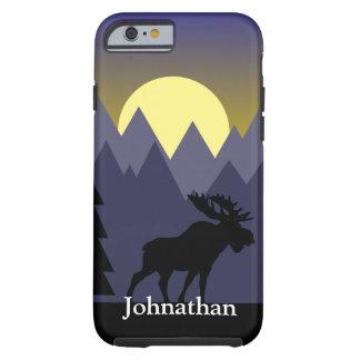 Coque Tough iPhone 6 Nom de coutume d'orignaux et de coucher du soleil
