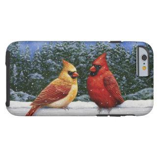 Coque Tough iPhone 6 Oiseaux et lumières de Noël cardinaux