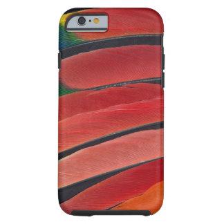 Coque Tough iPhone 6 Plumes rouges de perroquet d'Amazone