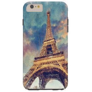 Coque Tough iPhone 6 Plus Art en pastel mignon d'aquarelle de Tour Eiffel