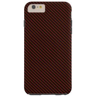 Coque Tough iPhone 6 Plus Base rouge et noire de fibre