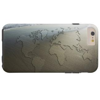 Coque Tough iPhone 6 Plus Carte du monde sur le sable