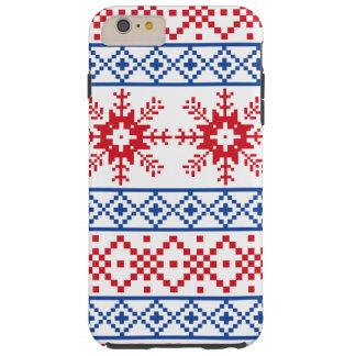 Coque Tough iPhone 6 Plus Frontières nordiques de flocon de neige de Noël