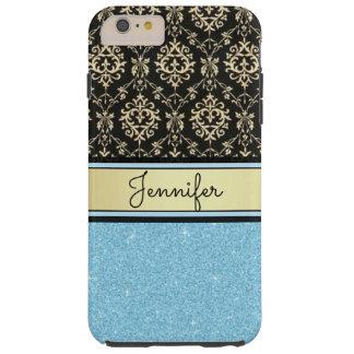 Coque Tough iPhone 6 Plus Le scintillement bleu-clair, or noir tourbillonne