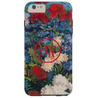 Coque Tough iPhone 6 Plus Monogramme de fleurs de Van Gogh et d'Elizabeth -