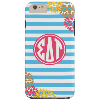 Coque Tough iPhone 6 Plus Motif de rayure de monogramme de Tau | de delta de