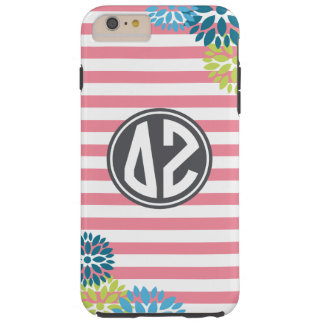 Coque Tough iPhone 6 Plus Motif de rayure de monogramme de Zeta | de delta