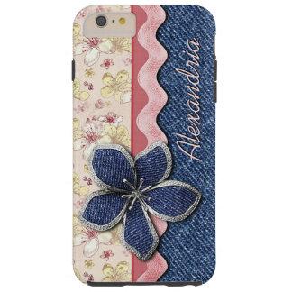 Coque Tough iPhone 6 Plus Motif floral en pastel mignon de hanche de jeans