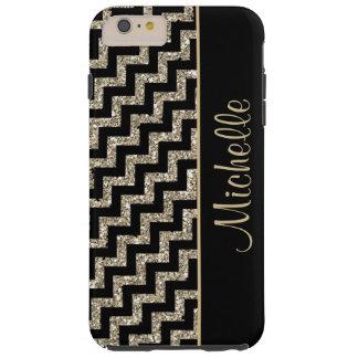 Coque Tough iPhone 6 Plus Or noir diagonal de Chevron personnalisé