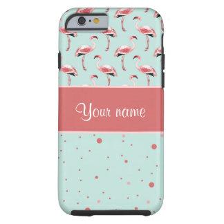 Coque Tough iPhone 6 Pois rose personnalisé de flamants