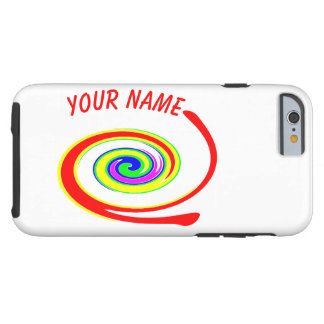 Coque Tough iPhone 6 Remous multicolore. Ajoutez votre texte