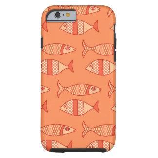 Coque Tough iPhone 6 Rétros poissons modernes, orange de corail légère
