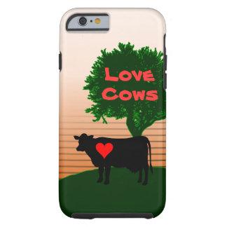 Coque Tough iPhone 6 Silhouette de vache à vaches à amour avec l'arbre