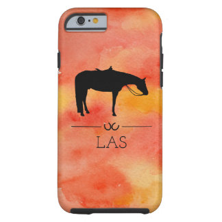 Coque Tough iPhone 6 Silhouette occidentale noire de cheval sur