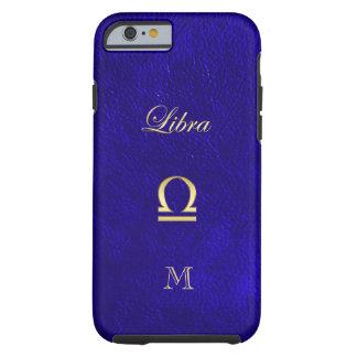 Coque Tough iPhone 6 Simili cuir bleu de Balance de signe de zodiaque