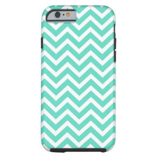 Coque Tough iPhone 6 Zigzag de Chevron dans le bleu d'Aqua de Tiffany