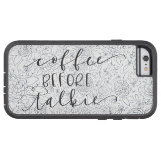 Coque Tough Xtreme iPhone 6 Café avant cas floral de téléphone de film parlant