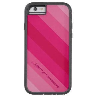 Coque Tough Xtreme iPhone 6 rayure diagonale rose de l'affaire cinq de