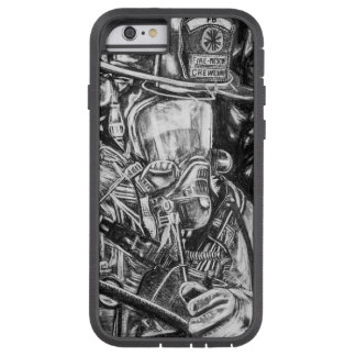 Coque Tough Xtreme iPhone 6 Sapeur-pompier - courage - dessin de fusain