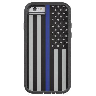 Coque Tough Xtreme iPhone 6 Soutenez l'Américain mince de Blue Line de police