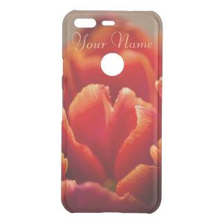 Coque Uncommon Google Pixel Pétales assez rouges de tulipe. Ajoutez votre nom