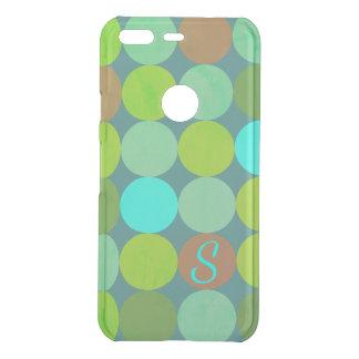 Coque Uncommon Google Pixel Turquoise turquoise de vert de chaux et monogramme