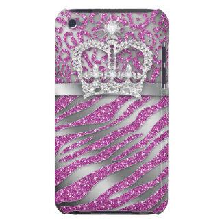 Coques Barely There iPod Couronne rose chic d'iPod de zèbre de léopard à