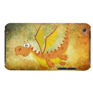 Coques Barely There iPod Dragon sur une texture orange