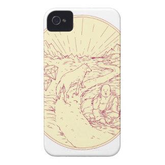 Coques Case-Mate iPhone 4 Bouddha et loup sur le dessin de diamants de route