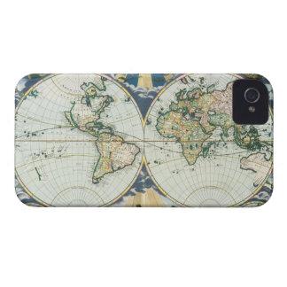 Coques Case-Mate iPhone 4 Carte de Vieux Monde antique vintage, 1666 par des