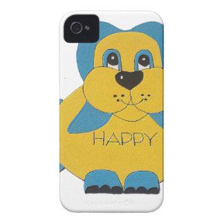 Coques Case-Mate iPhone 4 Chiot heureux bleu et jaune
