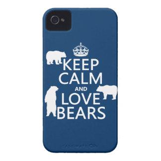 Coques Case-Mate iPhone 4 Gardez le calme et aimez les ours (dans toutes les