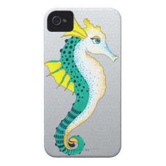 Coques Case-Mate iPhone 4 gris turquoise d'hippocampe