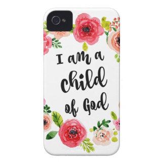 Coques Case-Mate iPhone 4 Je suis un enfant de l'article floral de Dieu